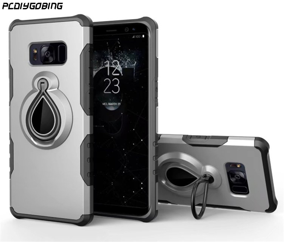 PCDIYGOBING For Samsung Galaxy S8 for Galaxy S8 Plus S8 Shockproof Cases Case fulll Finger Ring Holder Car Use Combo Cover