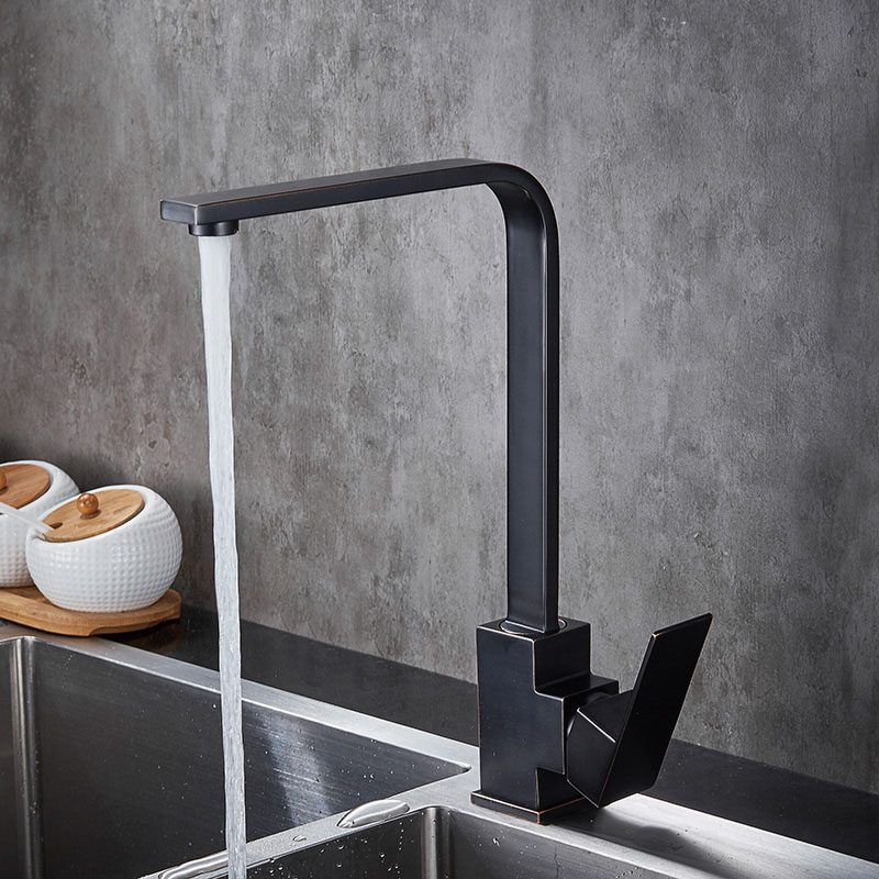 SUS304 Stainless Steel Square Kitchen Faucet Basin Sink faucets Mixer Tap Cold Hot Water Oil Rubbed Bronze Brushed Swivel Spout lead free 304 stainless steel kitchen hot and cold water faucet washing basin faucet wire drawing can be rotated