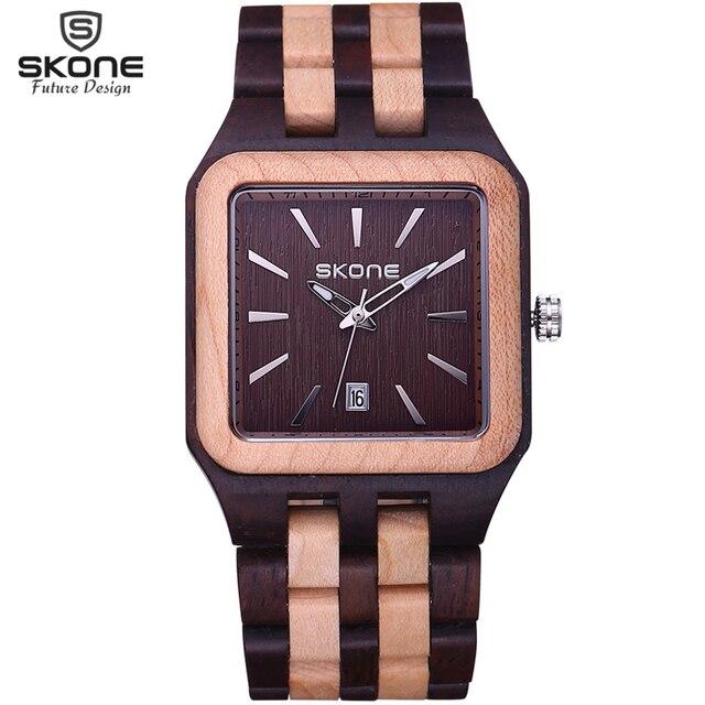 Zegarek drewniany SKONE bransoleta 3 kolory