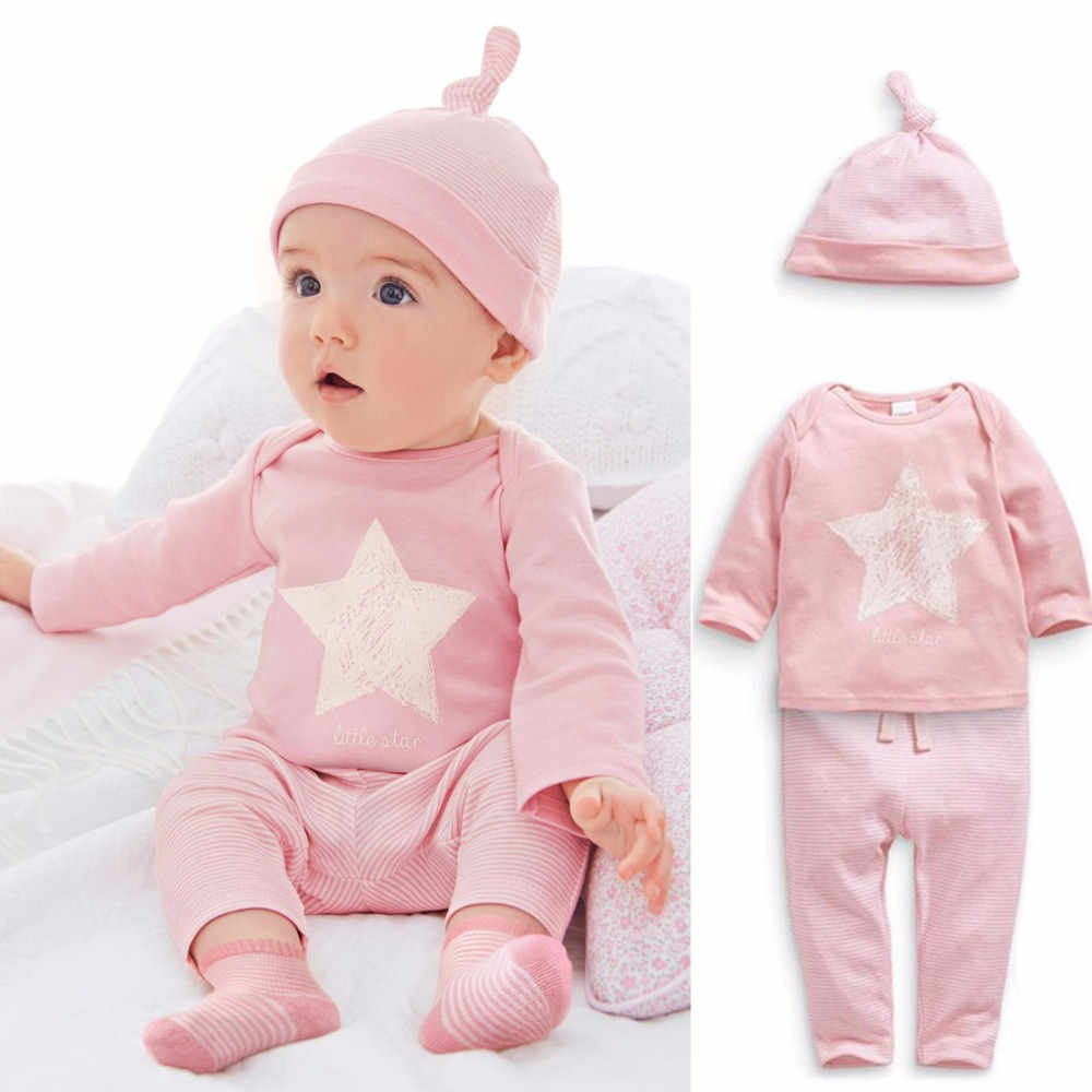 Cotton Baby Girls Clothes Long Sleeve Star Print Top+Striped Pants+Hat 3 pcs Baby Girls Clothing Set Pink Toddler Girls Costume baby kids girls top pants hat set 3 pieces clothing outfit costume ruffled clothes 0 3y p3