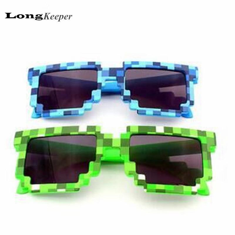 Meu mundo óculos de sol Creeper óculos quadrados novidade mosaico óculos de sol homens mulheres meninos crianças Pixel abstrata Eyewares M1