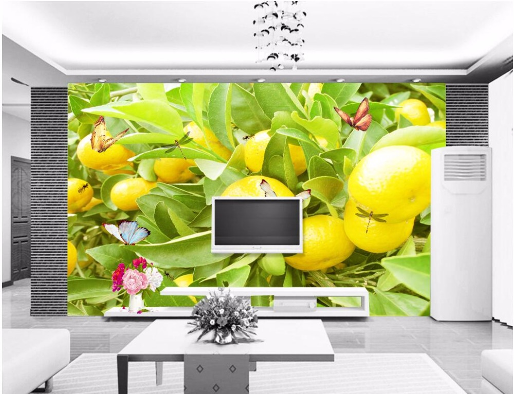 Custom mural photo 3d wallpaper Orange trees and butterflies picture decoration painting 3d wall murals wallpaper for walls 3 d