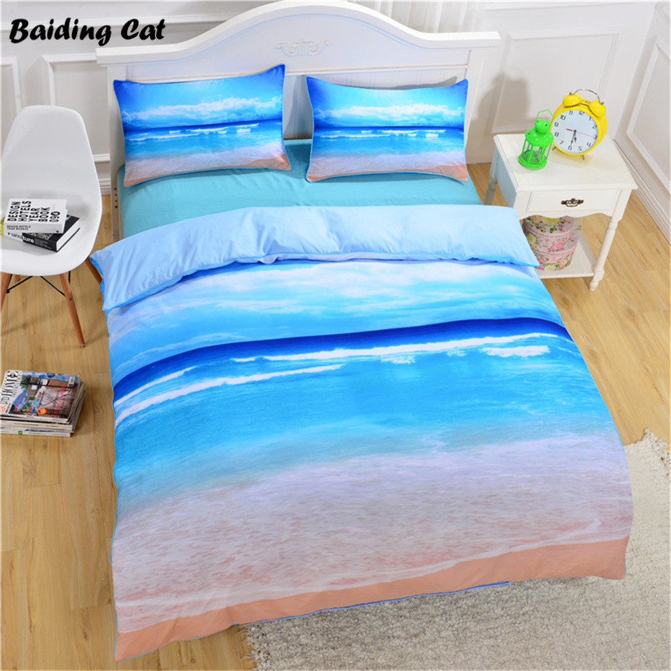 Blessliving Watercolor Bedding Set Golden And Blue Duvet Cover Set Ocean Waves Bed Cover Abstract Printed Bedclothes King Bedding Sets