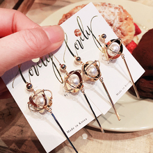Koreas Simple Pearl Earrings With Long Style Earring Women Fashionable Personality Metal Geometric Jewelry Accessories