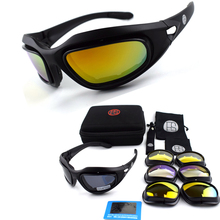 Tactical Glasses C5 Polarized Sunglasses 4 lens Goggles Outdoor Hunting Shooting Goggles Hiking Climbing Sport Glasses