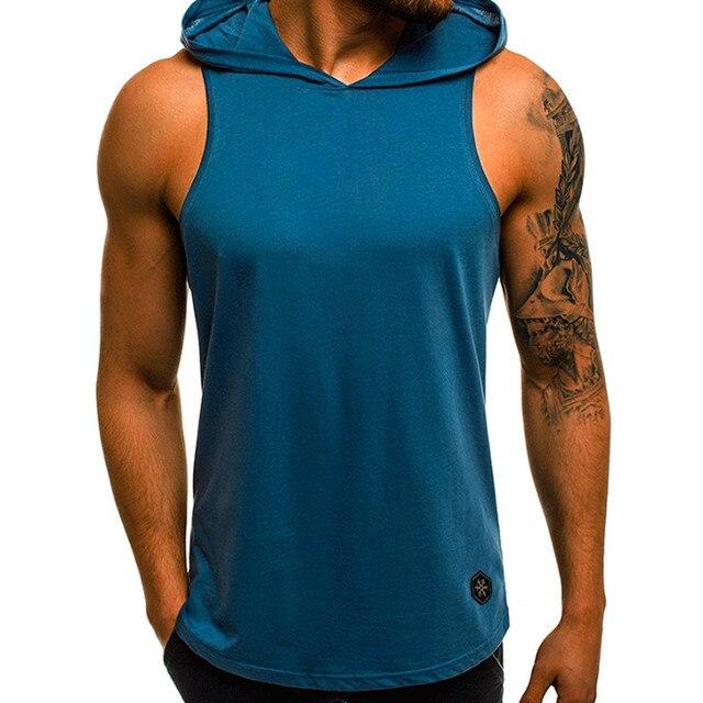 Men's Sleeveless Workout Hooded Tank Tops 5