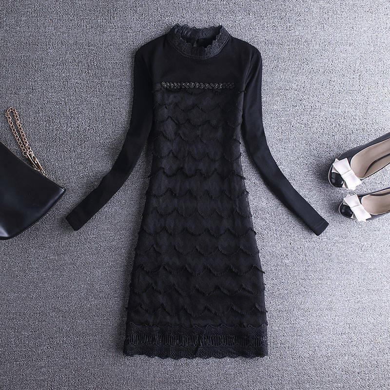 2019 nouveau mode dentelle Plus velours épaississement chemise femmes automne hiver robe grande taille 5XL coréen noir robes de soirée N336