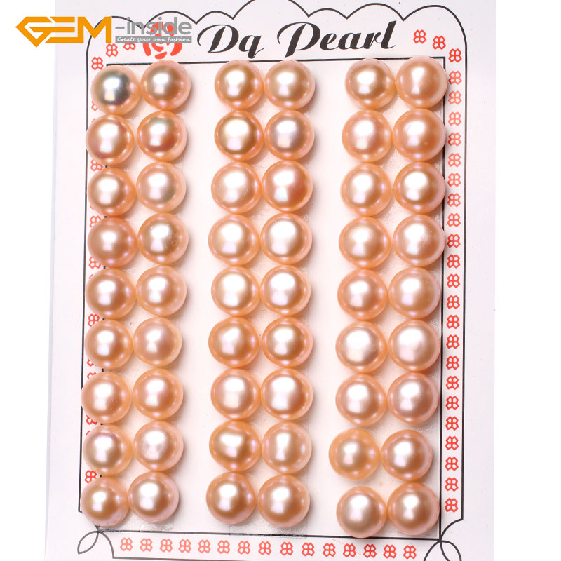 Gem inside 27 Pairs AAA Grade Half Drilled Freshwater Cultured Pearls Beads For Earrings Stud Jewelry Making DIY Jewellery