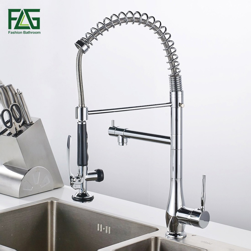 FLG Spring Style Nickle Brushed Kitchen Pull Faucet Mixer Dual Sprayer Swivel Spout Rotatable Hot Cold