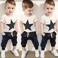 La Ropa del Bebé del Algodón de Los Niños Estrella Impreso de Manga Corta t-shirt + Pants Traje Roupa Infantil Del Bebé Del Verano Ropa de los cabritos Sets