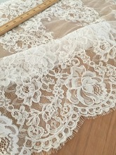 3 Meters Exquisite French Alencon Lace Fabric Trim ,Beautiful Bridal Veil Wedding Lace Scallop Embroidered Eyelash Floral Lace