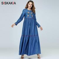 Siskakia Women long dress Fashion Patchwork Draped Design Maxi Dresses Blue Long Sleeve Single breasted Autumn Clothes 2018