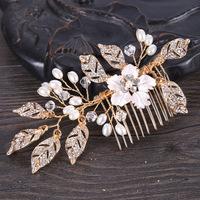 Leaf   Hair   comb   Wedding     Hair     jewelry   Handmade Bridal Headpiece Bridesmaid   Hair   accessories women Gold color bride hairpiece