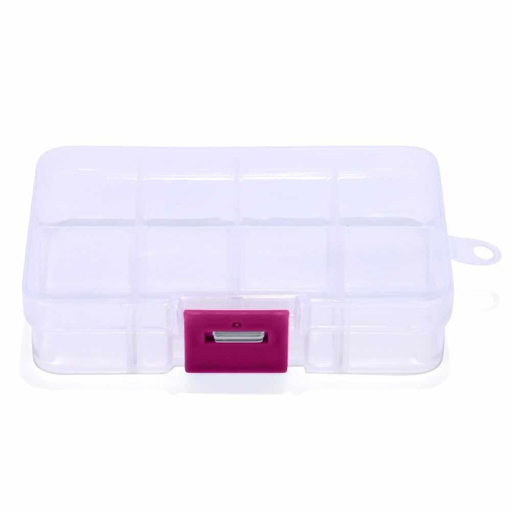 Caja de almacenamiento de joyas de plástico ajustable con 8 ranuras organizador artesanal Almacenamiento de cuentas integrar joyería para niñas # T2