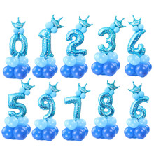 30inch rose gold number balloons birthday party decorations kids/adult princess prince 1st birthday crown ballons column balloon