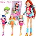2016 El Más Nuevo Winx Club Muñeca arco iris de colores niña de las Figuras de Acción Flor de hadas Muñecas con encantadoras mascotas Juguetes Clásicos Para Las Niñas regalo