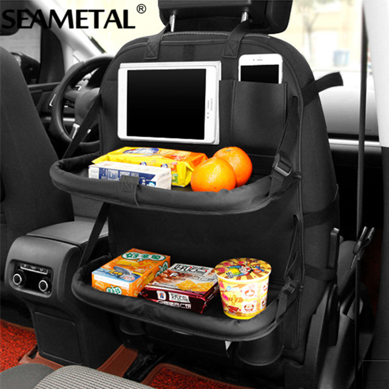 Car Seat Back Organizer Bag Folding Table Storage Bags Auto Travel PU Leather Protector For Kids Automoblie In Car Accessoires genuine leather car storage bag organizer universal back seat bags backseat trunk travel holder box pockets protector for kids