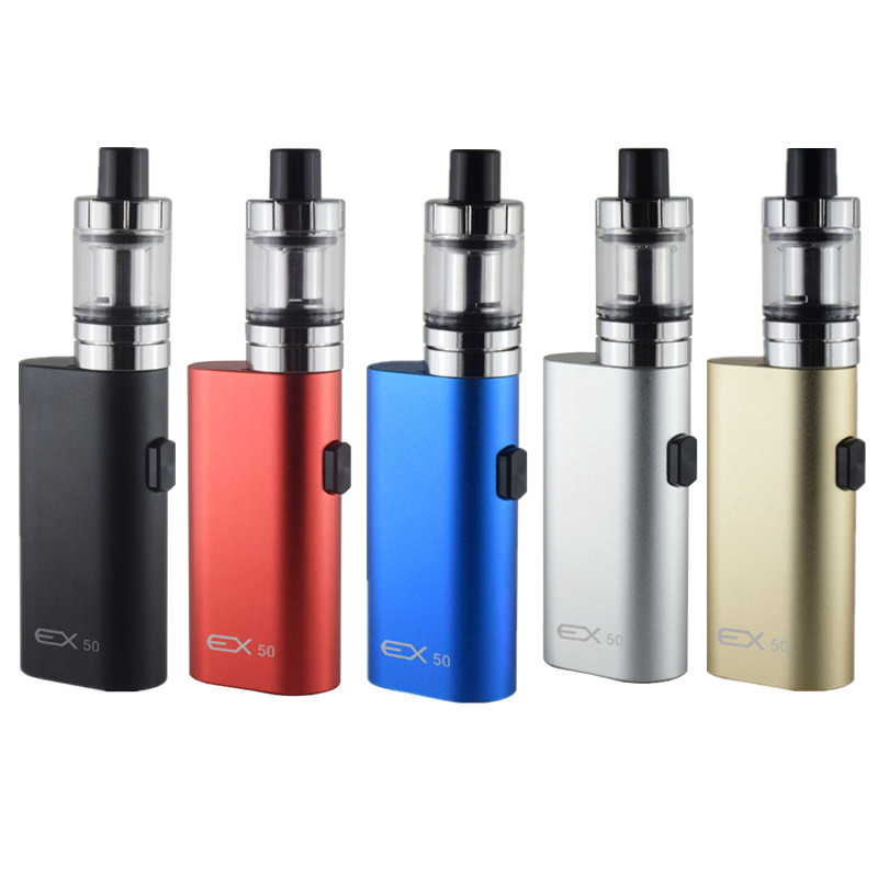 Electronic Cigarette EX 50 2000mah bulid-in battery 50w box mod with 2.0ml 0.5ohm Tank Huge Vapor e-cigarettes vape pen kit
