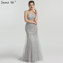 Cinza luxo diamante lantejoulas high end vestidos de noite 2020 elegante sereia sem mangas sexy vestidos de noite sereno hill la6587