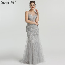 Grey Luxury Diamond Sequined High end Evening Dresses 2020 Elegant Mermaid Sleeveless Sexy Evening Gowns Serene Hill LA6587