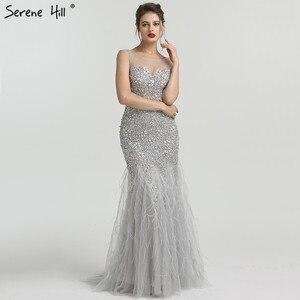 Image 1 - Gri lüks elmas payetli High end abiye 2020 zarif Mermaid kolsuz seksi abiye giyim Serene tepe LA6587