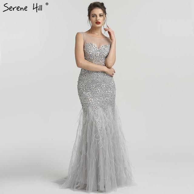 Gri lüks elmas payetli High end abiye 2020 zarif Mermaid kolsuz seksi abiye giyim Serene tepe LA6587
