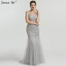 Serenhill robe de soirée de forme sirène, élégante tenue longue, sans manches, grise, pierreries, pierreries, LA6587, 2020