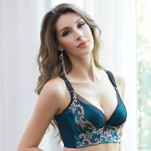 34e1a127d8 Online Shop Sexy Underwear Women Bra Push Up 38C 85C 42C 95C cup Embroidery  Gold Big Chest Five Breasted Broadening Collection Bras