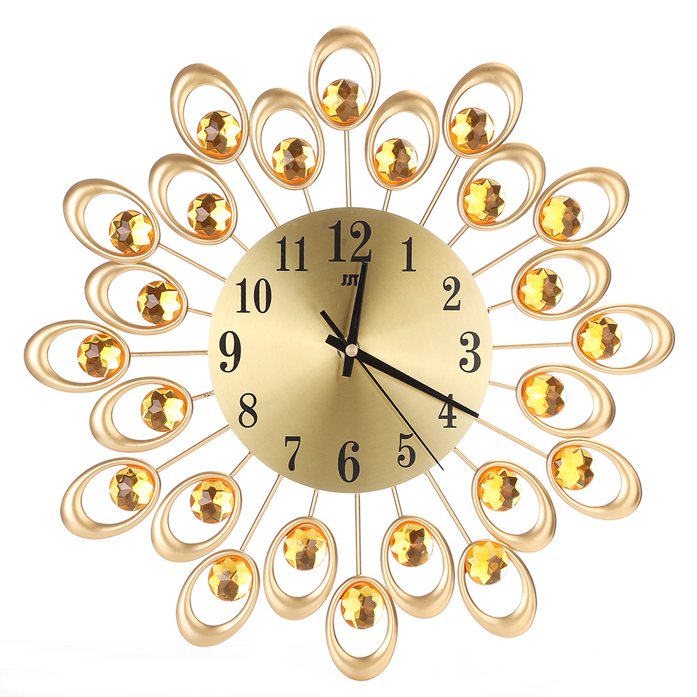 Large Iron Radial Flower Wall Clock Metal Crystal Decorative 3D ...