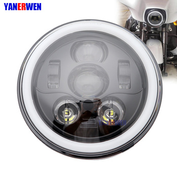 "7"" Halo LED Headlight with DRL For Motorcycle Projector LED Headlamp Set Black or Chrome,DOT Approved 1PCS"
