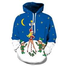 Women/Men Sport Sweatshirts Hoodies Christmas Snow White Print Sportwear Blue Tops Pocket Autumn Pullover Cycling Hooded Sweater