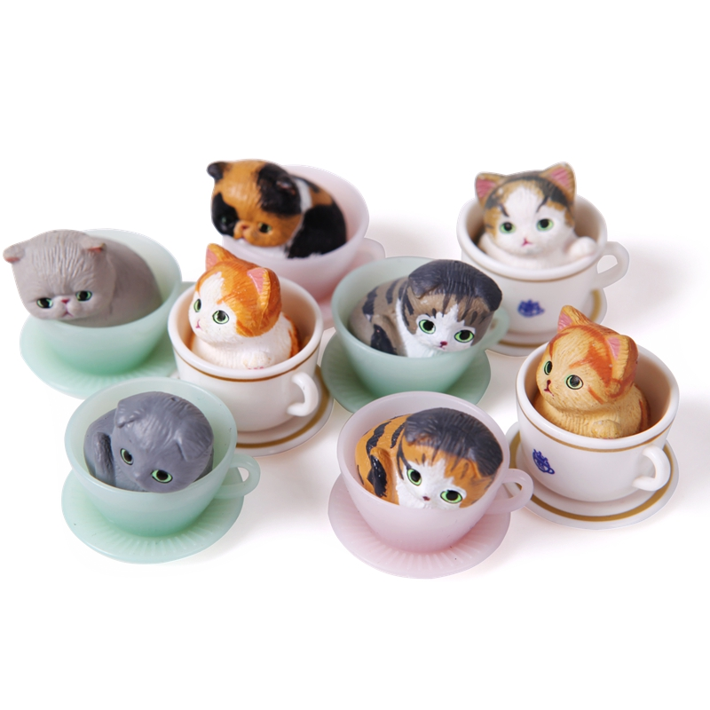 8pcs/set Lovely Mini Teacup Cats Toy Model Set 2.5cm Exquisite Pusheen Figure Neko Atsume Cute Decrotation Gifts Free shipping noir thriller set
