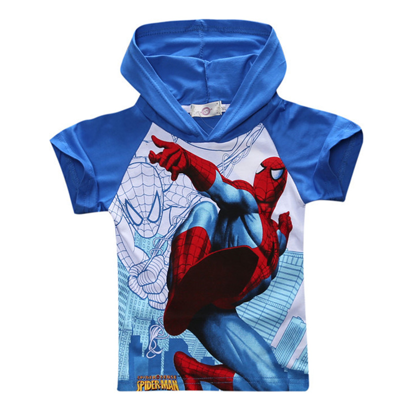 2016 New Spiderman Boys T-shirt Children's Cartoon Fashion Hooded Super Hero T Shirt Summer Cotton Casual Kids Short Tshirt 22