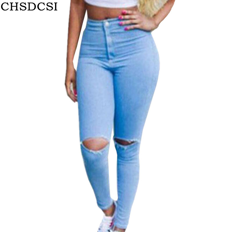 CHSDCSI Women Jeans Brand Vintage Mid Waist Regular Denim Jean Slim Solid Ripped Pencil Hole Pant Female Sexy Girl Trousers