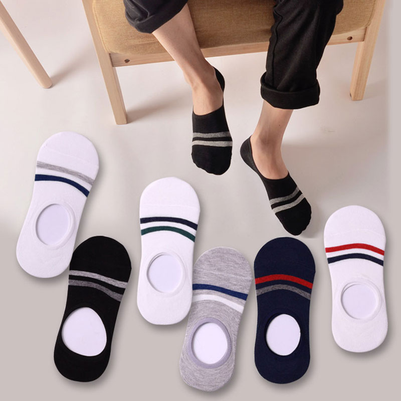 3 Pair Invisible Boat Socks Short Cotton Blends Male Ankle Socks Low Cut Shoe Liner Mens Socks Invisible Mens Slippers Non-slip