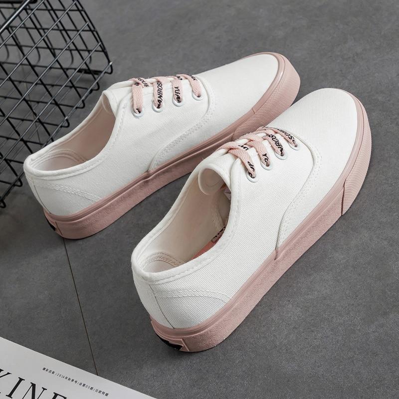Mode Noir Chaussures Toile blanc Nouveau Sauvage Simple Chaussures Étudiants Blanc Femme Rwzdw0