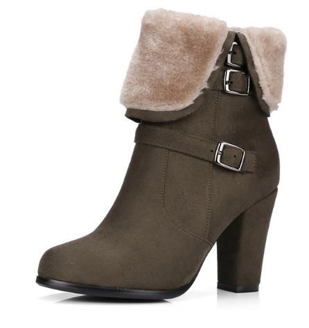 KNCOKAR Brand Thick Plush Snow Ankle Boots Women Keep Warm Winter Boots Buckle Strap Side Zipper Thick High Heels Shoes Woman fedonas top quality winter ankle boots women platform high heels genuine leather shoes woman warm plush snow motorcycle boots
