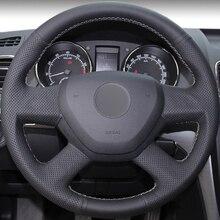 Черный кожаный DIY Вручную прошитый рулевого колеса автомобиля крышки для Skoda Yeti 2014 2015 2016