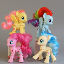 8CM my rainbow horse toys decoration PVC Figures poni Kids Doll colourful model girl's gift Movable dolls