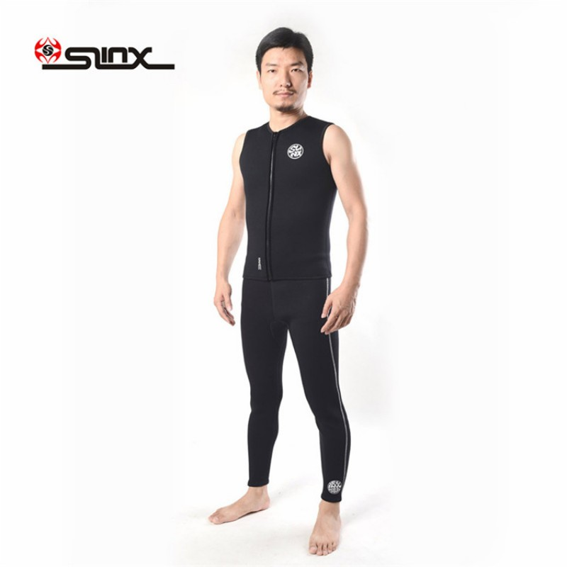 New 3MM Neoprene with Plush Lining Wetsuit Pants Vest Sleeveless Snorkeling Pants Wetsuit Bottom or Top for Men