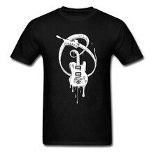 Musicn Guitar Fonder Retro Mens T-shirts Crewneck Short Sleeve Pure Cotton Tops Shirts Cheap Street Club T Wholesale