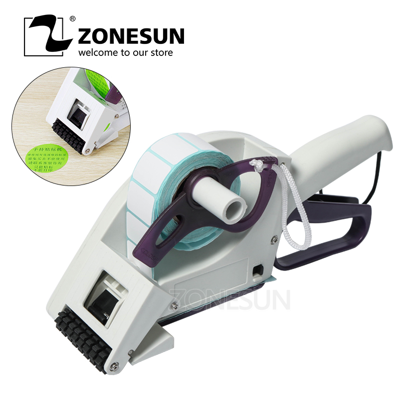 ZONESUN Semi automatic Round Bottle Adhesive Sticker Manual Packing Labeling Machine Handheld Price Tag Labeller Flat