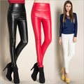 2016 Slim Jeggings Faux Leather Plus Size Black Velvet Leggings For Women Punk Rock Fitness High Waist Adventure Time Legins MF