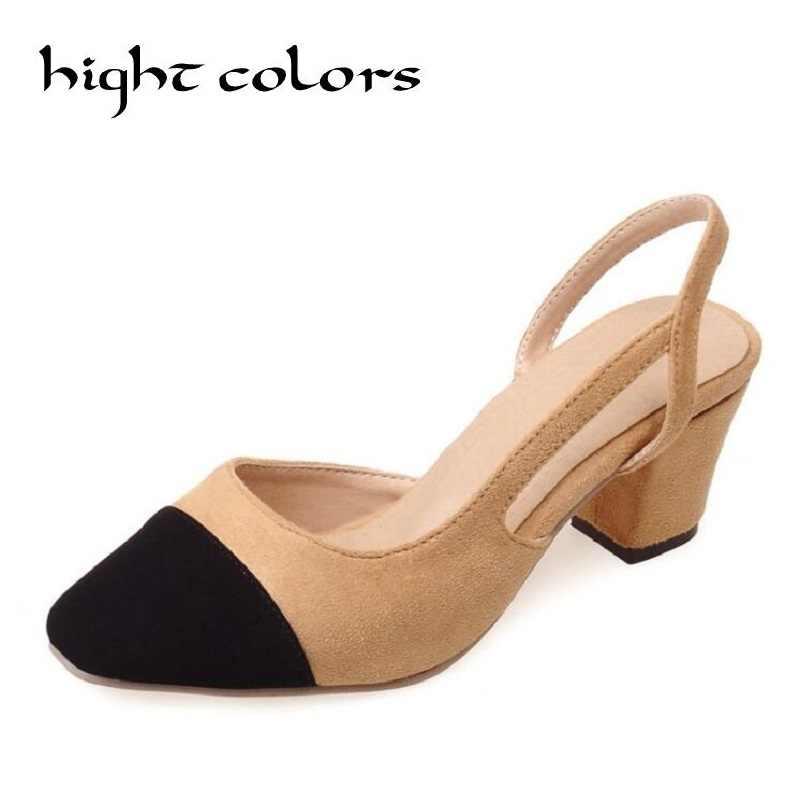 90b1f82d7eed Черные открытые женские туфли на толстой подошве с круглым носком женские  слинбэки модельные женские туфли потрясающие