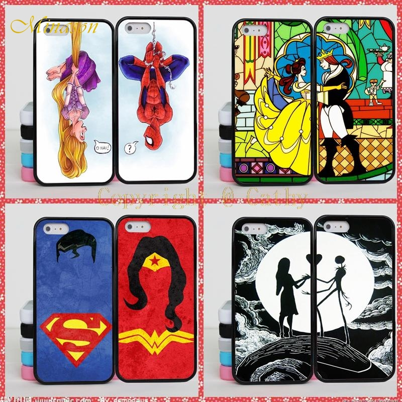 Minason Funny Spiderman Iron Man BFF Best Friends Case For iPhone X 8 7 6 6S Plus 5 5S Peter Pan Two Lovers Couple Case Cover