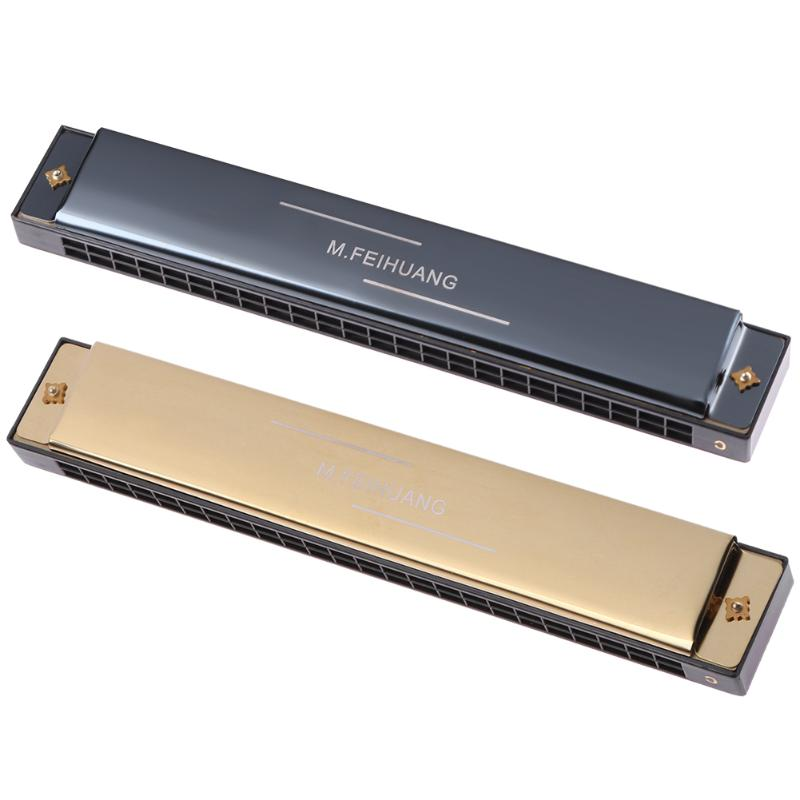 24 Hole Tremolo Harmonica C Key Octave-tuned Mouth Organ with Case Gold/Black Musical Instruments Harmonica