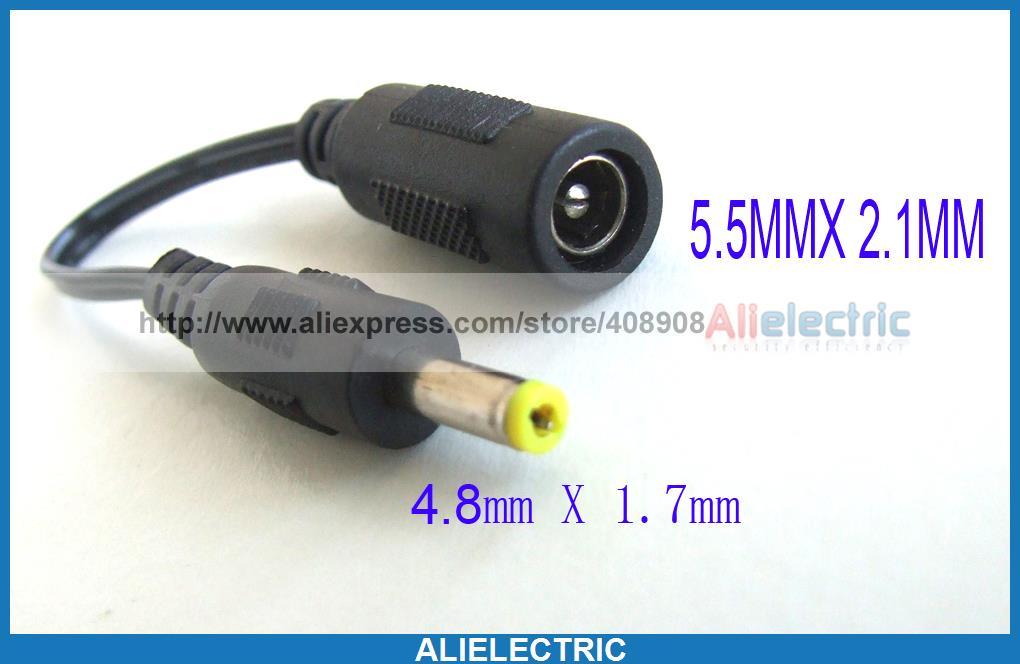 50 pièces DC puissance Jack convertisseur câble 5.5x2.1mm femelle à 4.8x1.7mm prise mâle