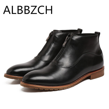 New Chelsea Ankle Boots Genuine Leather Dress Men Shoes Men's High Top Business Casual Boots British Trend Work Boots Size 38-44