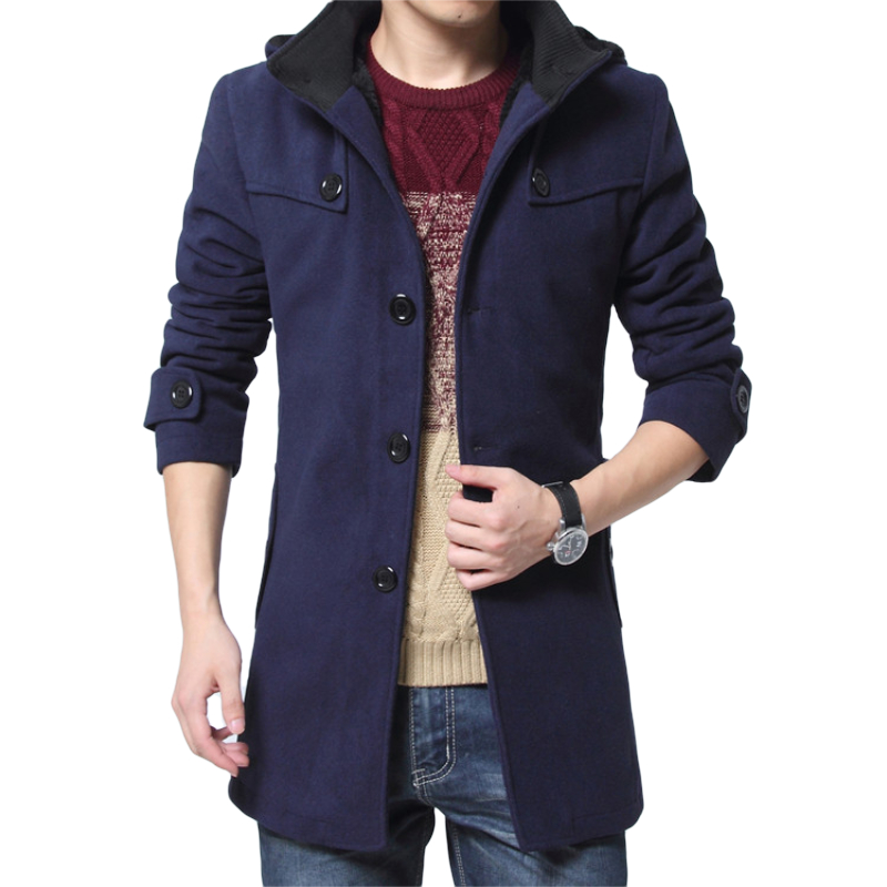 Winter Velvet Thick Warm Coat Men Slim Long Jackets Male Casual Wool Trench Coat Men's Overcoat 4XL Wool Windproof Jacket
