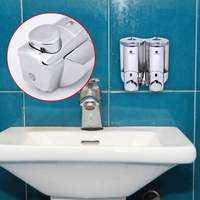 Double Pump Clear Wall Mounted Soap Shampoo Dispenser Shower Chrome Helper For Bathroom Kitchen Hospital Hotel